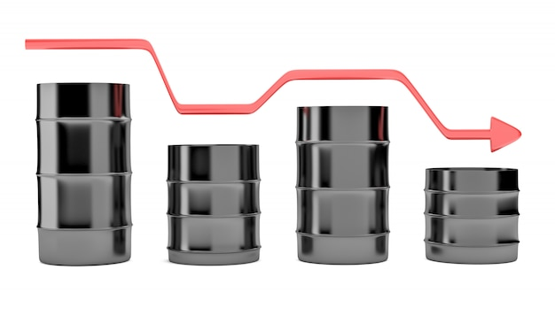 Vier olievaten met afnemende rode pijl