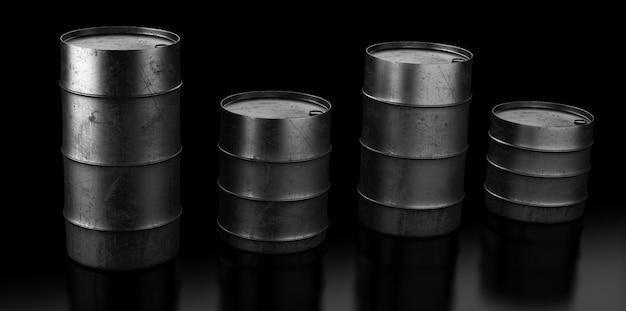 Vier olievaten op donker