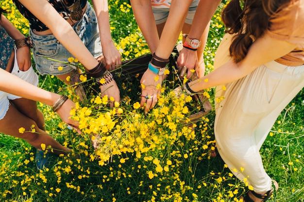 Vier paar vrouwelijke handen met een doos met veld, gele bloemen