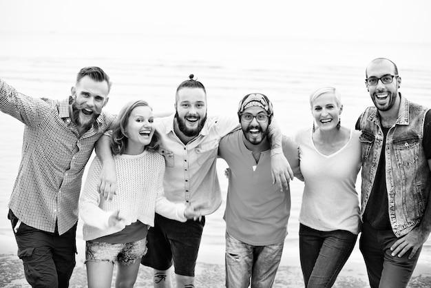 Vier plezier vrienden samen eenheid sociaal concept