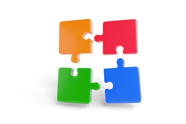 Vier puzzelstukjes, rood, blauw, groen en oranje, komen samen in drie dimensies. teamwerkconcept.