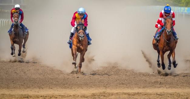 Vier renpaarden heffen een stofwolk op met hun hoeven