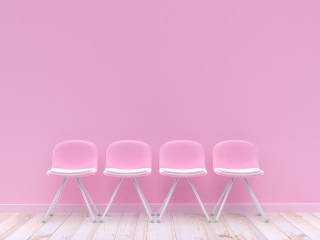 Vier roze stoelen op betonnen muur