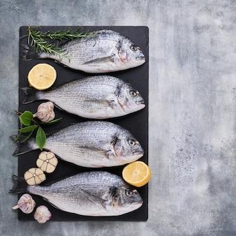 Vier verse koninklijke dorades op betonnen grijze achtergrond gezond voedsel concept bovenaanzicht kopieerruimte