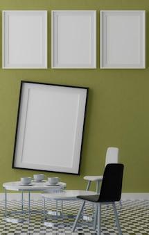 Vier verticale witte frames op blauwe muur