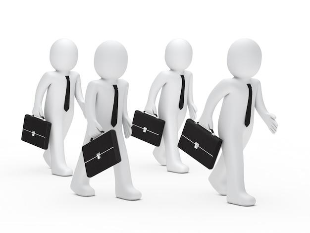 Vier werknemers met aktetassen lopen