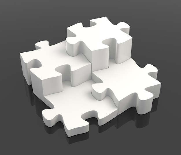 Vier witte puzzelstukjes gecombineerd oplossingsconcept op zwarte achtergrond