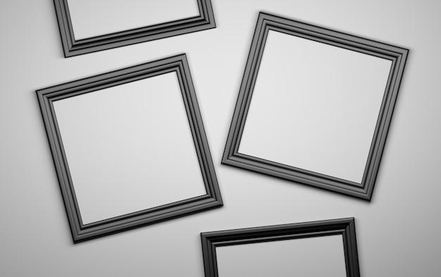 Vier zwarte fotofotoframes blanco. 3d illustratie.