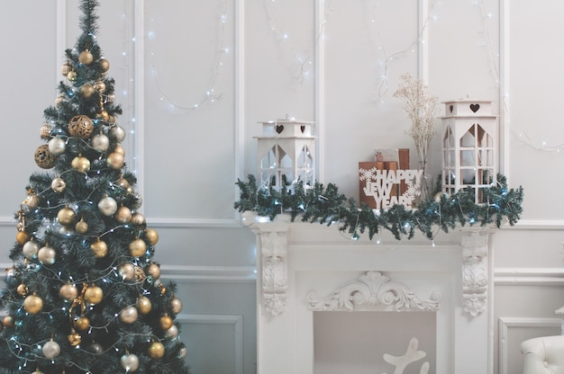 Viering, kerstmis, nieuwjaar, wintertijd, vakantie, decoratie, ontwerp, decor. kunst, boom, fi