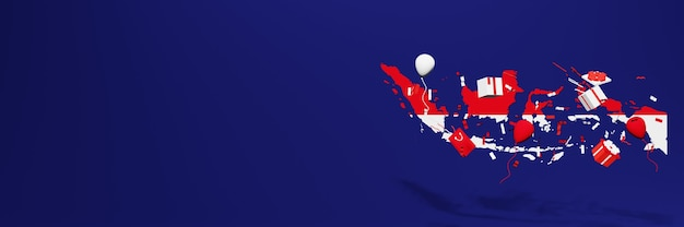 Viering van de onafhankelijkheidsdag van indonesië voor websiteomslagen