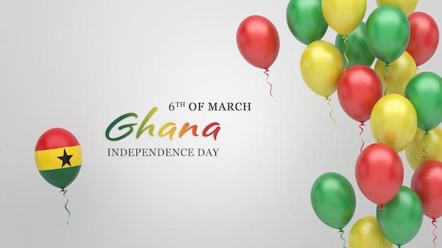 Vieringsbanner met ballonnen in de vlagkleuren van ghana.
