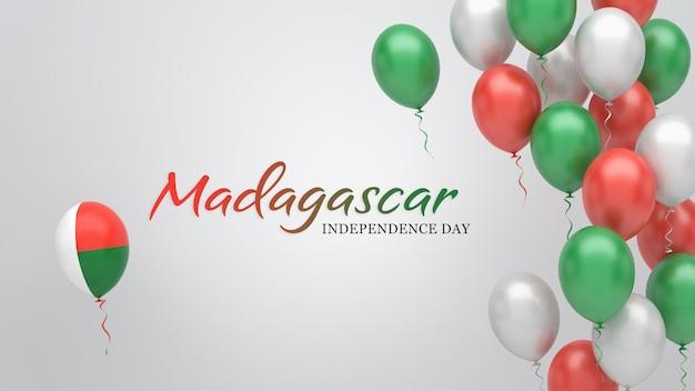 Vieringsbanner met ballonnen in de vlagkleuren van madagaskar.
