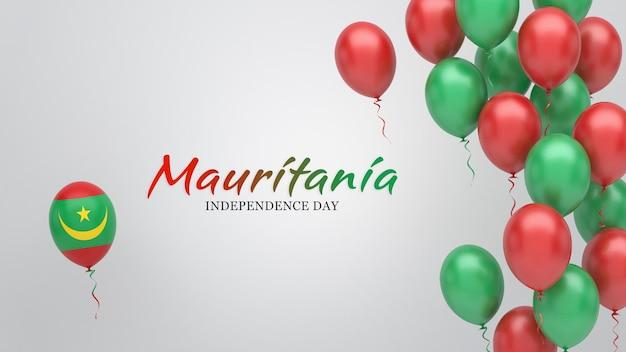 Vieringsbanner met ballonnen in de vlagkleuren van mauritanië.