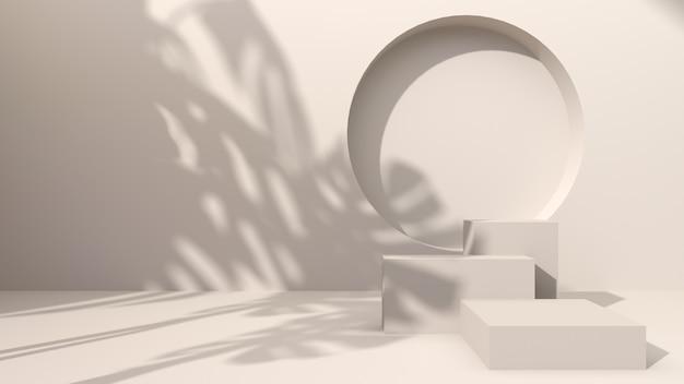 Vierkant beton op een crèmekleurige abstracte achtergrond pons een rond gat versierd met de schaduw van monstera-bladeren. voor het presenteren van cosmetische producten. 3d-weergave