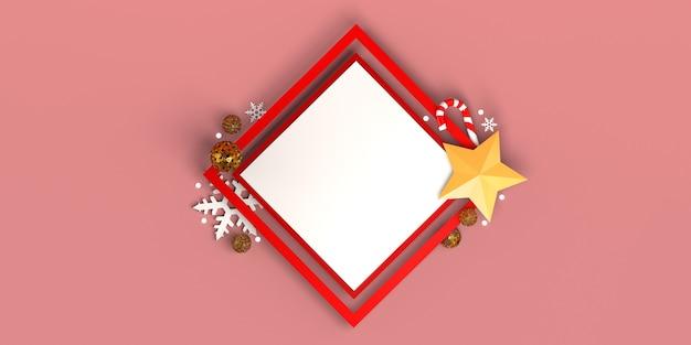 Vierkant frame met kerstvoorwerpen sterren snoepstokken sneeuwvlokken ballen ruimte kopiëren