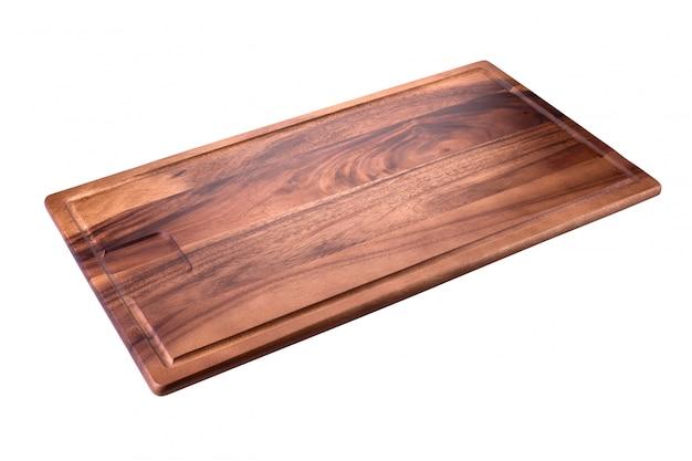 Vierkant houten dienblad op een witte achtergrond
