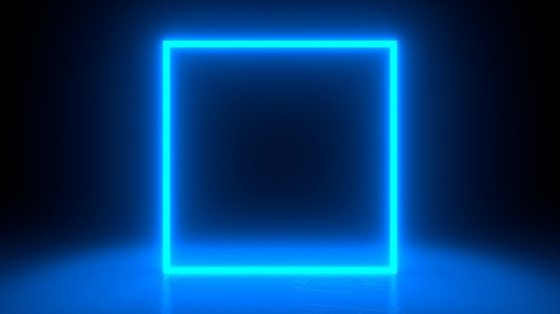 Vierkant neonblauw licht in zwarte halruimte.