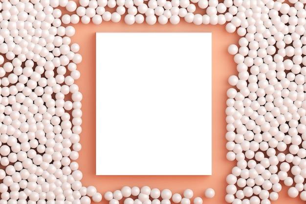 Vierkant plat lag concept bovenaanzicht van leeg frame mock up en pastel duizendjarige roze