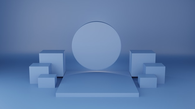 Vierkant podium klassieke blauwe kleur met cirkellabel voor product