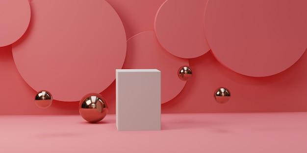 Vierkant podium met cirkelvormen op een roze kamer.