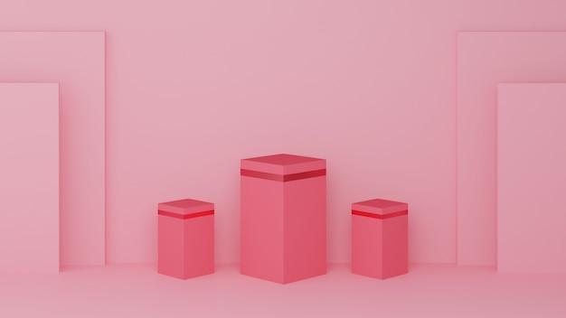 Vierkant podium roze pastelkleur en roze rand met drie rang