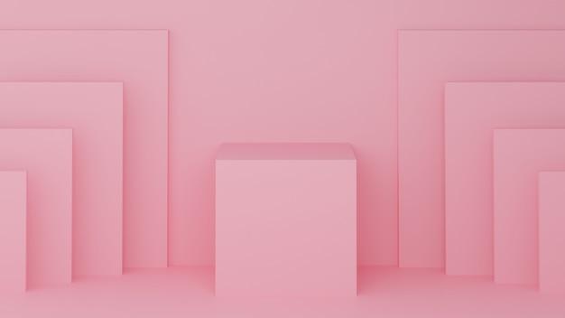 Vierkant podium roze pastelkleur voor product