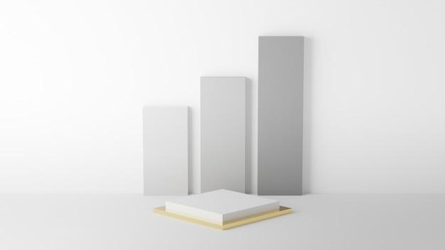 Vierkant podium wit en goud kleur met witte grafiek en muur voor product