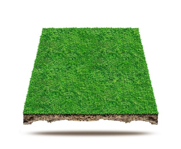 Vierkant van groen grasveld op witte achtergrond