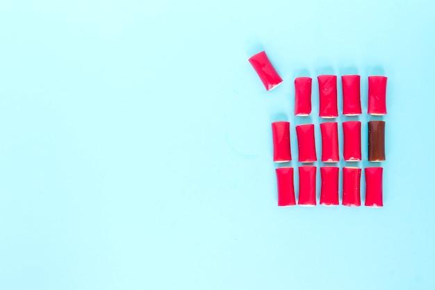 Vierkant van roze gummies