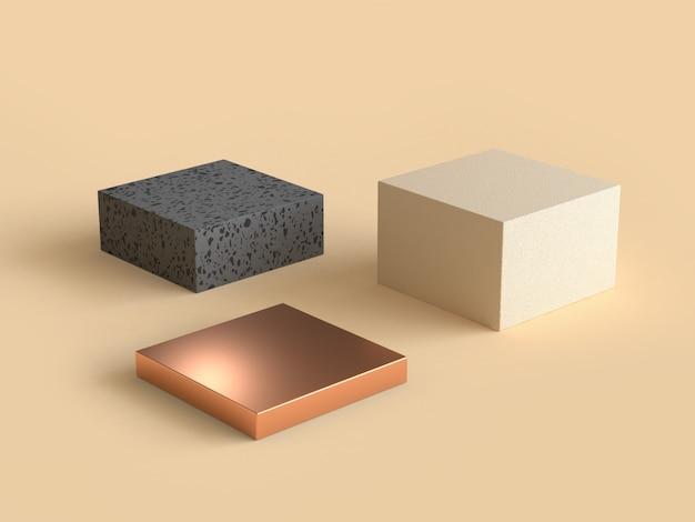 Vierkante abstracte geometrische vorm crème zwart en goud 3d-rendering