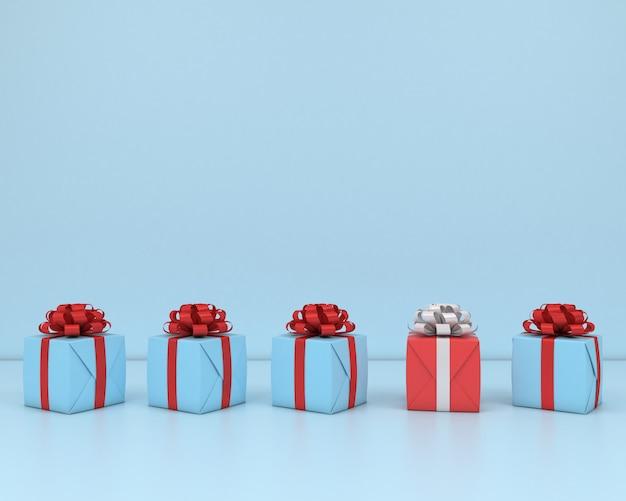Vierkante geschenkdoos en rood lint blauwe achtergrond 3d-concept render pastel