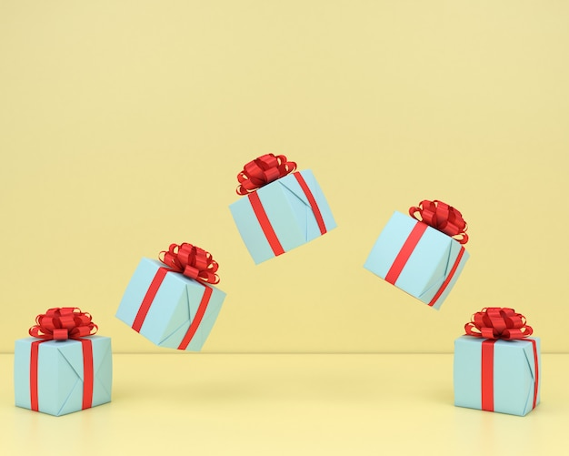 Vierkante geschenkdoos en rood lint gele achtergrond 3d render pastel