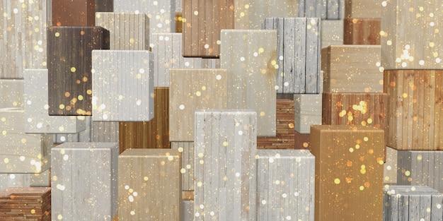 Vierkante houtblokachtergrond meerdere houtstructuren meerdere kleuren 3d-illustraties