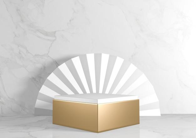 Vierkante rechthoek voetstuk wit voor cosmetisch product op achtergrond graniet wit. 3d-weergave