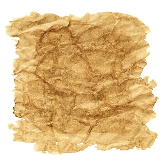 Vierkante vlek koffie op verfrommeld papier geïsoleerd over de witte achtergrond