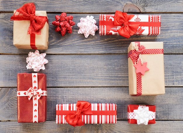Vierkante vorm gemaakt door kerstcadeaus