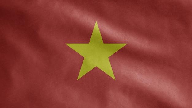 Vietnamese vlag wappert in de wind. vietnam sjabloon blazen, zachte en gladde zijde. doek stof textuur ensign achtergrond.