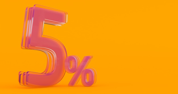 Vijf (5) procent in glas, glas 3d nummer op gekleurde banner achtergrond, 3d render