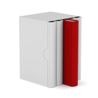 Vijf boeken met lege doosdekking op witte achtergrond. geïsoleerde 3d illustratie