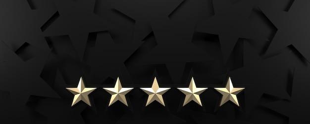 Vijf gouden sterren die zwarte achtergrond beoordelen. 3d