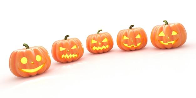 Vijf halloween-pompoenen met geïsoleerde schaduw op een rij. 3d-weergave