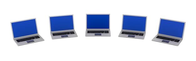 Vijf laptops. geïsoleerde 3d-weergave