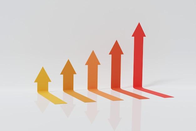 Vijf pijlen stap verhogen omhoog bewegen. abstracte financiële grafiek met uptrend lijn pijlen grafiek omhoog geïsoleerd op een witte achtergrond. 3d-rendering