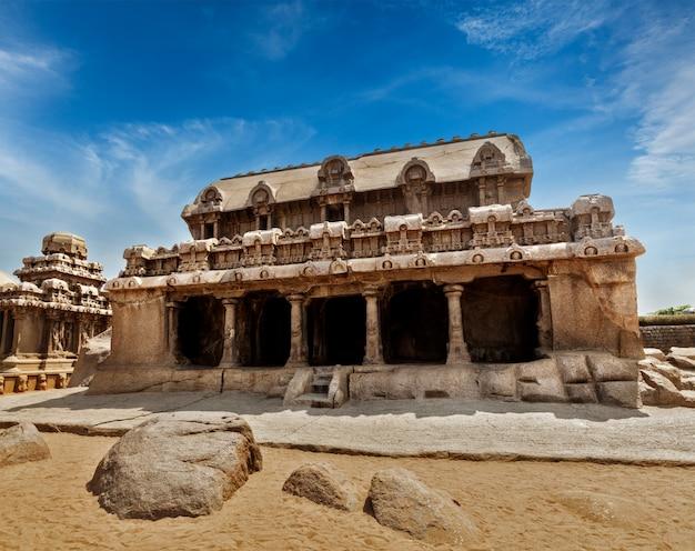 Vijf ratha's. mahabalipuram, tamil nadu, zuid-india