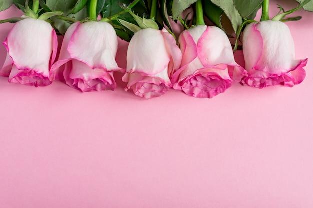 Vijf roze rozen op roze. kopie ruimte - valentijnsdag, 8 maart, moeder, vrouwendag concept