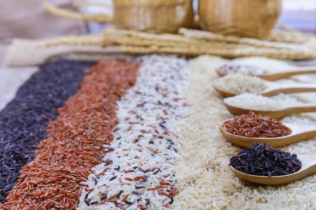 Vijf soorten rijst op houten lepel.