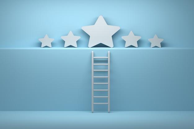 Vijf sterren met ladder in blauw witte kleuren
