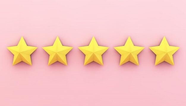 Vijf sterren op roze