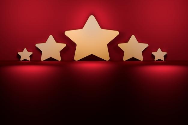 Vijf sterren van verschillende grootte naast de paarse donkerrode muur verlicht door licht.