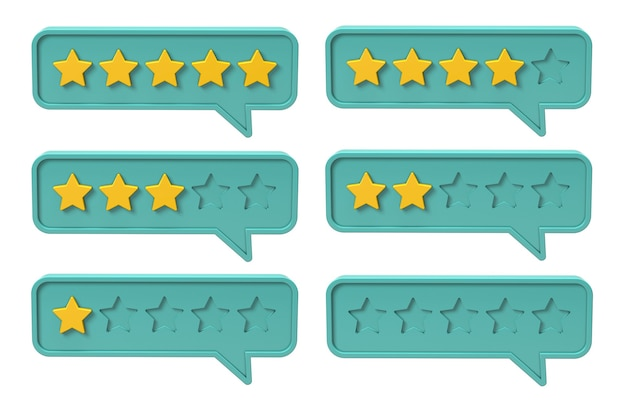 Vijf sterren waardering. bel met feedback, kwaliteit. geïsoleerd op witte achtergrond. 3d render.
